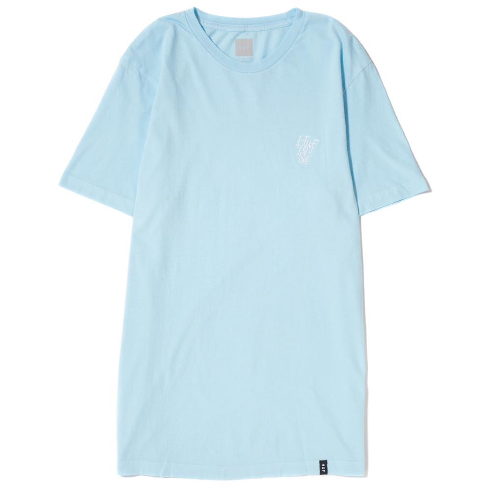 style code HUFTS00115FA17D1CRB. HUF COUNTRY CLUB OVERDYED T-SHIRT / CRYSTAL BLUE