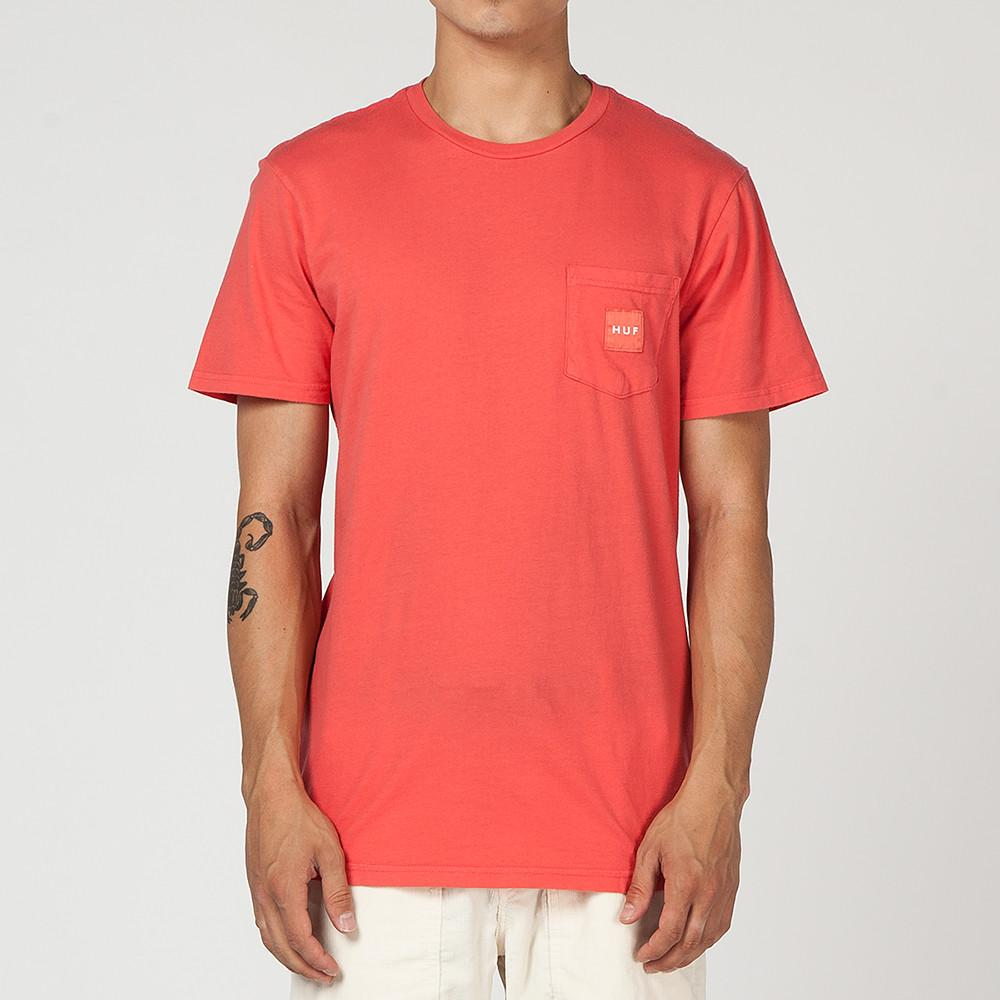 style code HUFTS00168FA17D1COR. HUF WOVEN LABEL POCKET T-SHIRT / CORAL