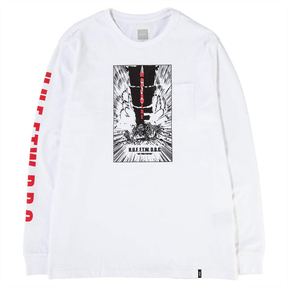 Style code HUFTS00375FA18D2WHT. HUF Kaboom Pocket Long Sleeve T-shirt / White