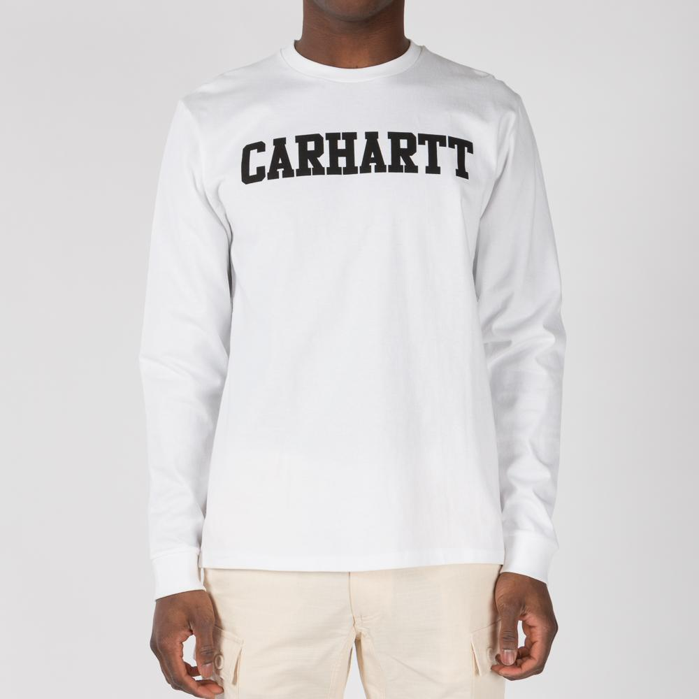 Carhartt wip college long sleeve t shirt white for Carhartt long sleeve t shirts white