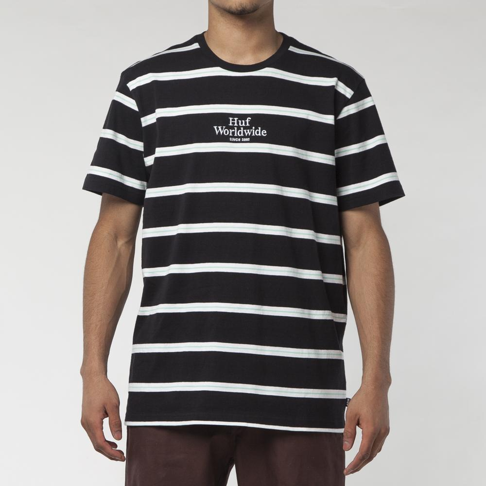 HUF GOLDEN GATE STRIPE KNIT T-SHIRT / BLACK