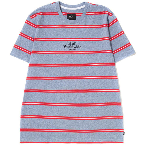 Style code KN00052SP18D1BLU. HUF GOLDEN GATE STRIPE KNIT T-SHIRT / BLUE