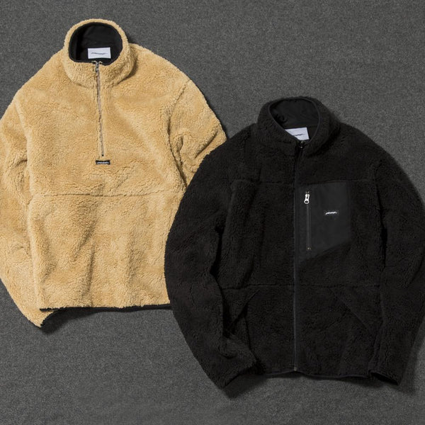 Livestock Full High Zip Pile Fleece / Black