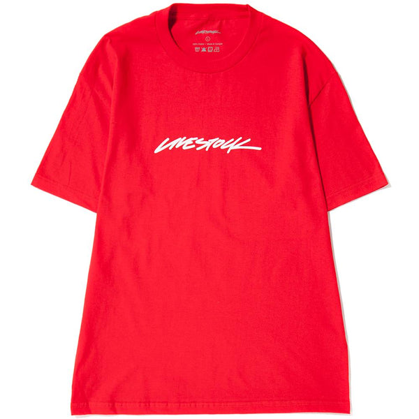 style code LSFW1701RED. LIVESTOCK LOGO T-SHIRT / RED