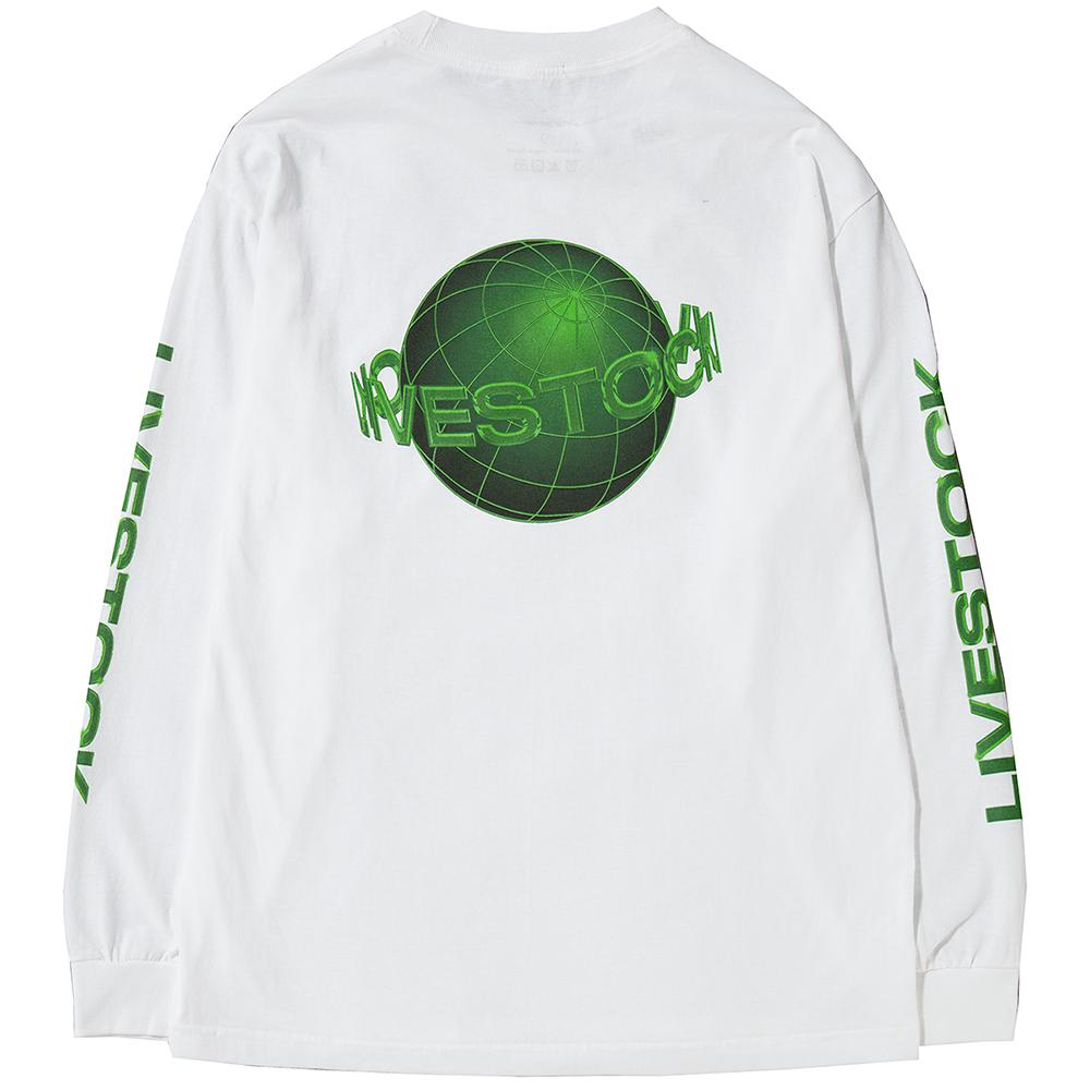 Style code LSH1703WHT. LIVESTOCK INTERPLANETARY LONG SLEEVE T-SHIRT / WHITE