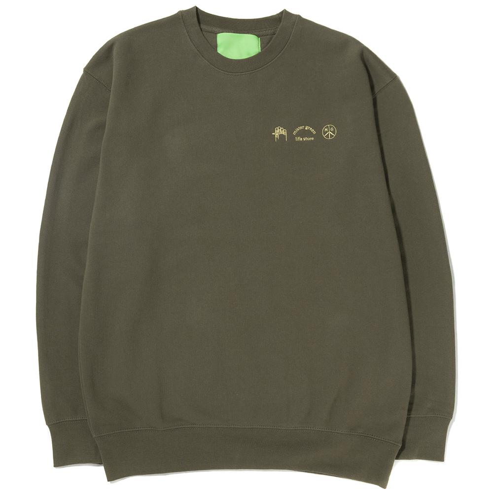 Style code MG0302. MISTER GREEN LOGO CREWNECK / ARMY