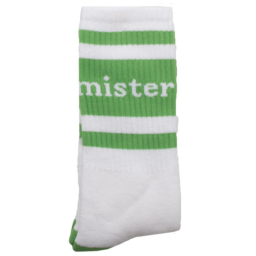 Style code MG0328. MISTER GREEN WORDMARK SOCKS WHITE / GREEN