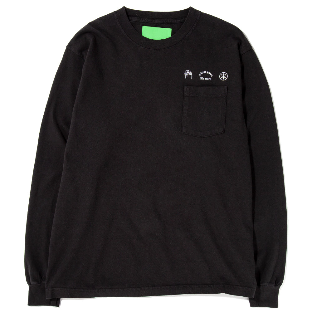 Style code MG504. Mister Green Trifecta Heavyweight Long Sleeve Pocket T-shirt / Black
