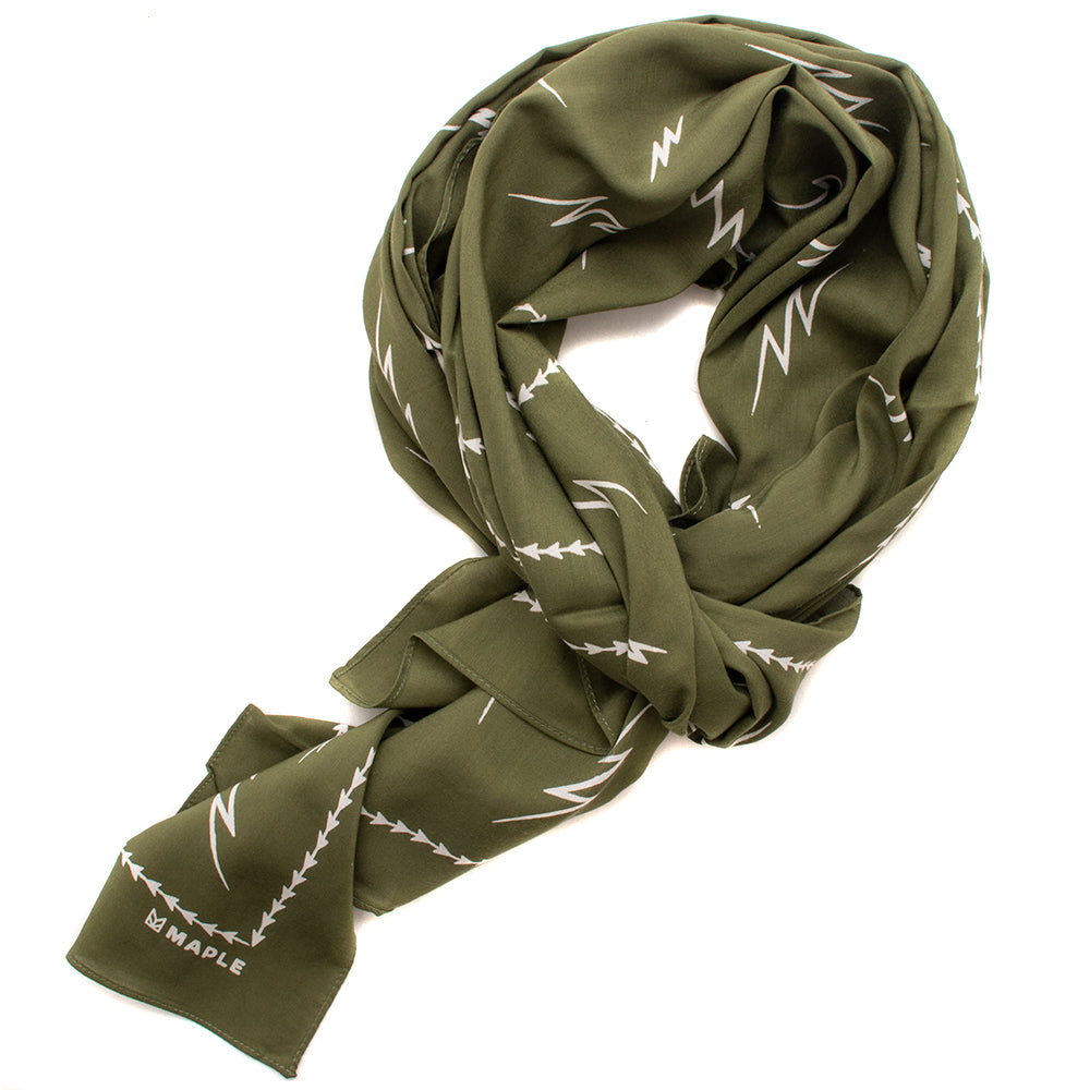 Style code MPLFW1820OLV. Maple Bolts Scarf Olive / Beige
