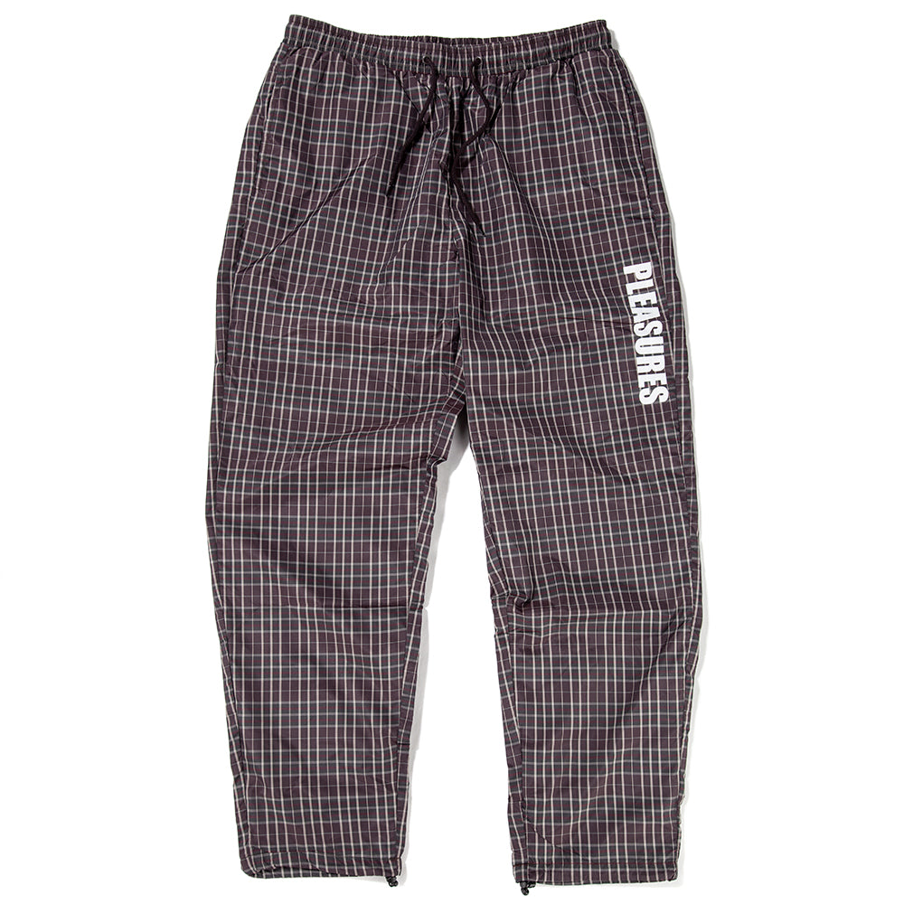 Style code P18F104009BRN. Pleasures Plaid Athletic Wind Pant / Brown