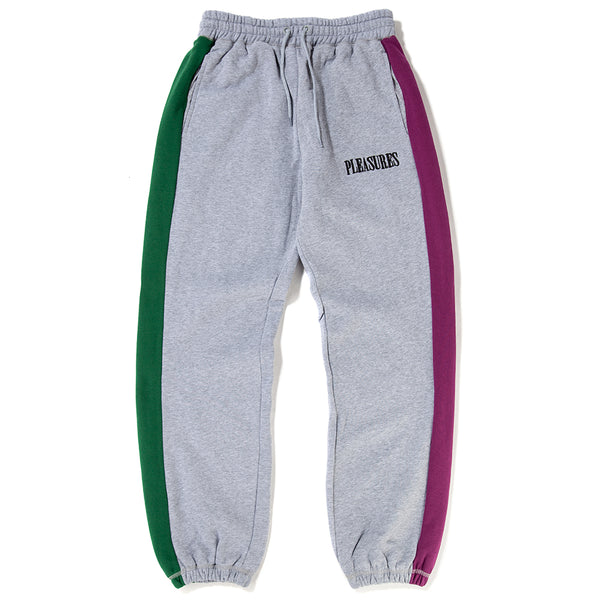 Style code P18F104011 . Pleasures Split Colour Sweatpants / Heather Grey
