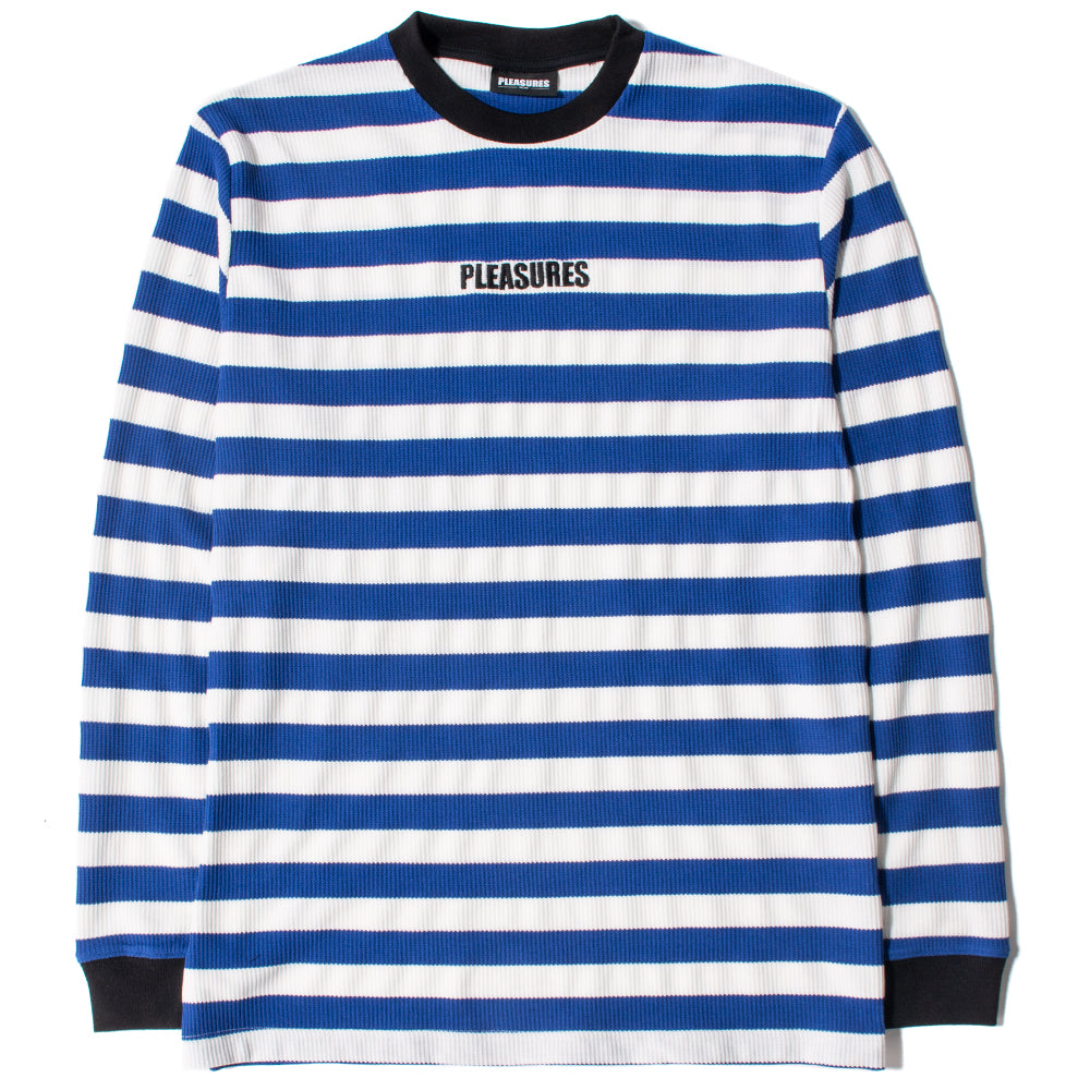 Style code P18W109002. Pleasures Parade Waffle Knit Long Sleeve / Blue