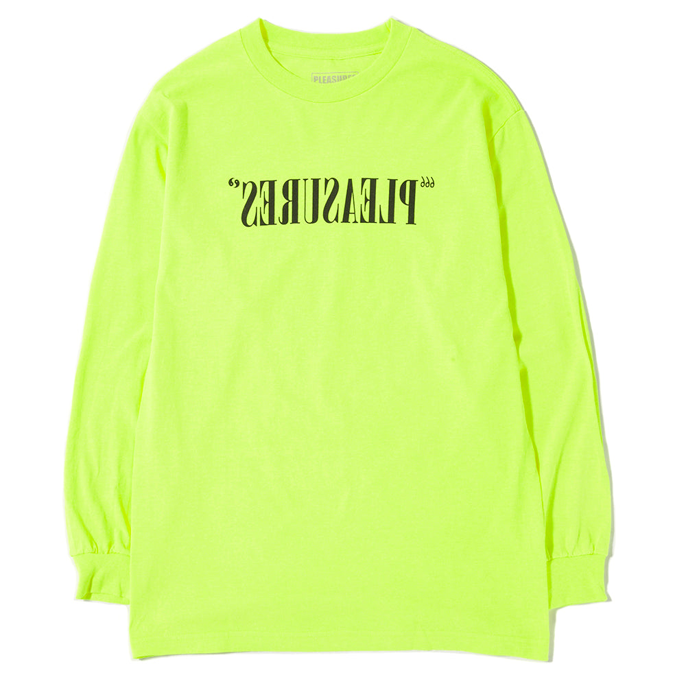 Pleasures Flipped Logo Long Sleeve T-Shirt / Safety Green - Deadstock.ca