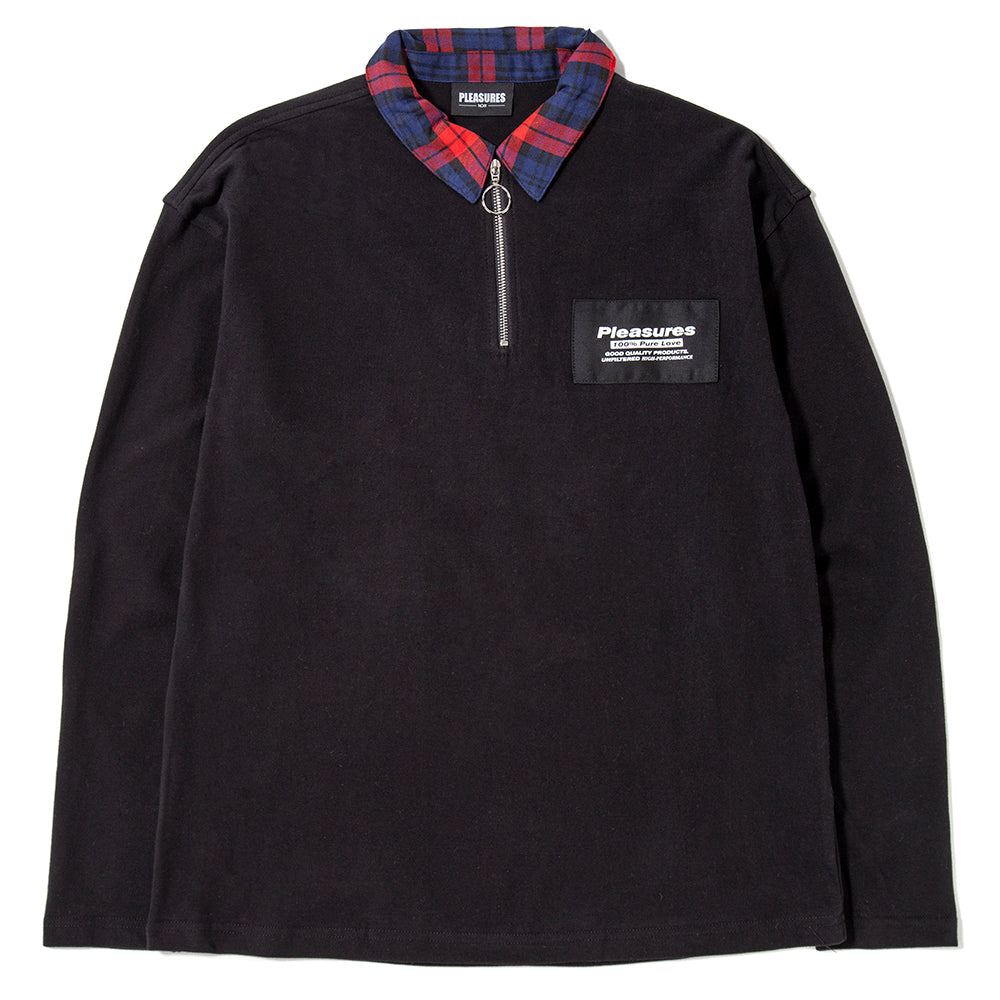 Pleasures Pure Love Quarter Zip Polo Long Sleeve Shirt / Black - Deadstock.ca