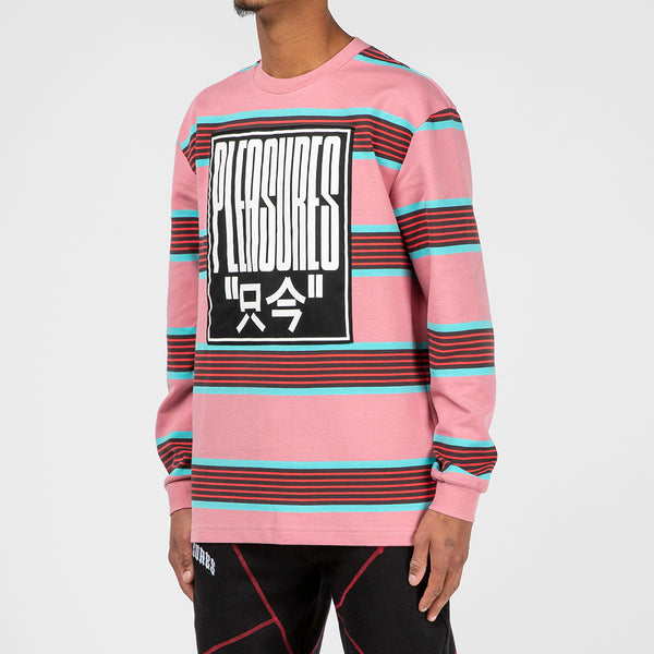 Pleasures Electronic Striped Long Sleeve T-shirt / Pink