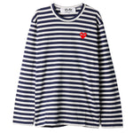 COMME des GARÇONS PLAY Red Heart Striped Long Sleeve T-shirt Navy / White