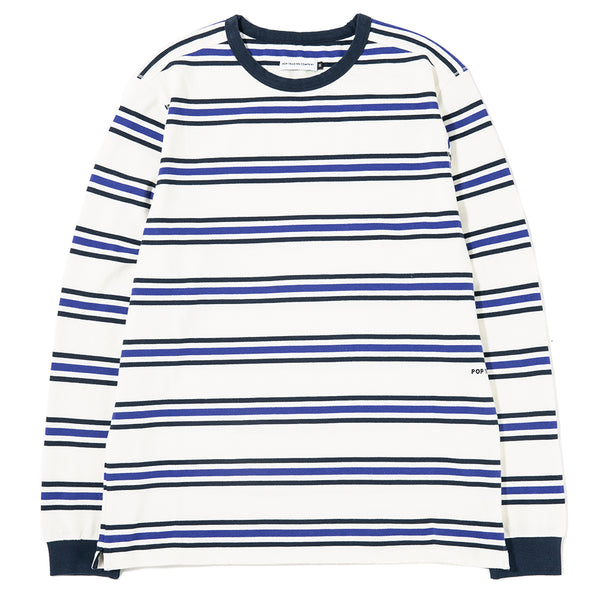Pop Trading Company Harold Stripe Long Sleeve T-shirt Off White / Grape - Deadstock.ca