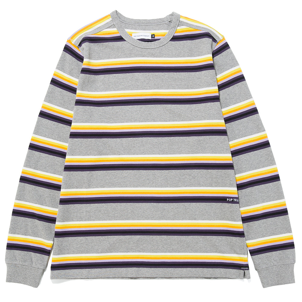 Pop Trading Company Striped Long Sleeve T-shirt / Grey Heather