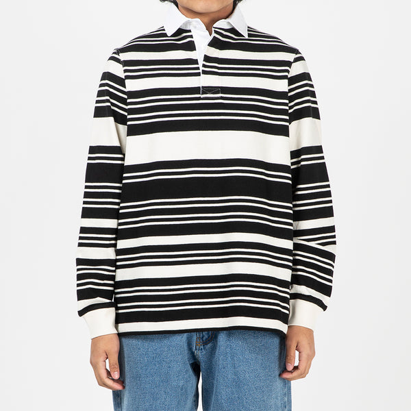 Pop Trading Company Striped Rugby Shirt Off White / Black