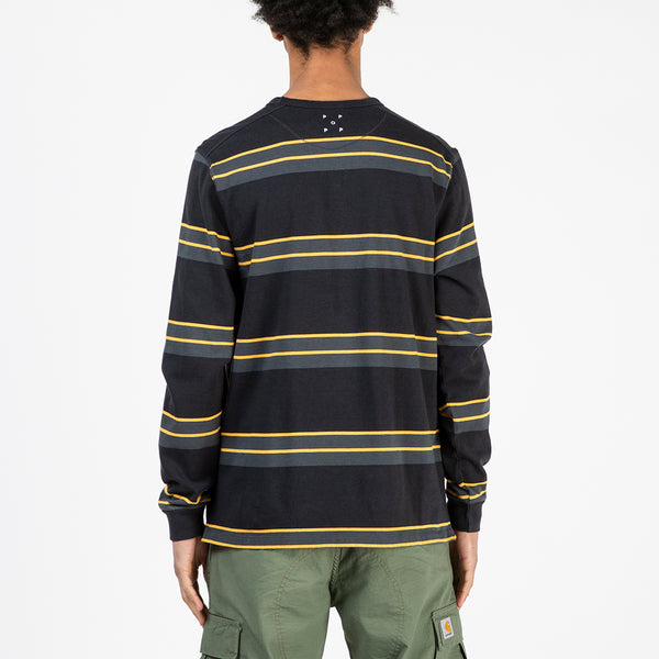 Pop Trading Company Striped Long Sleeve Top Charcoal / Burnt Yellow