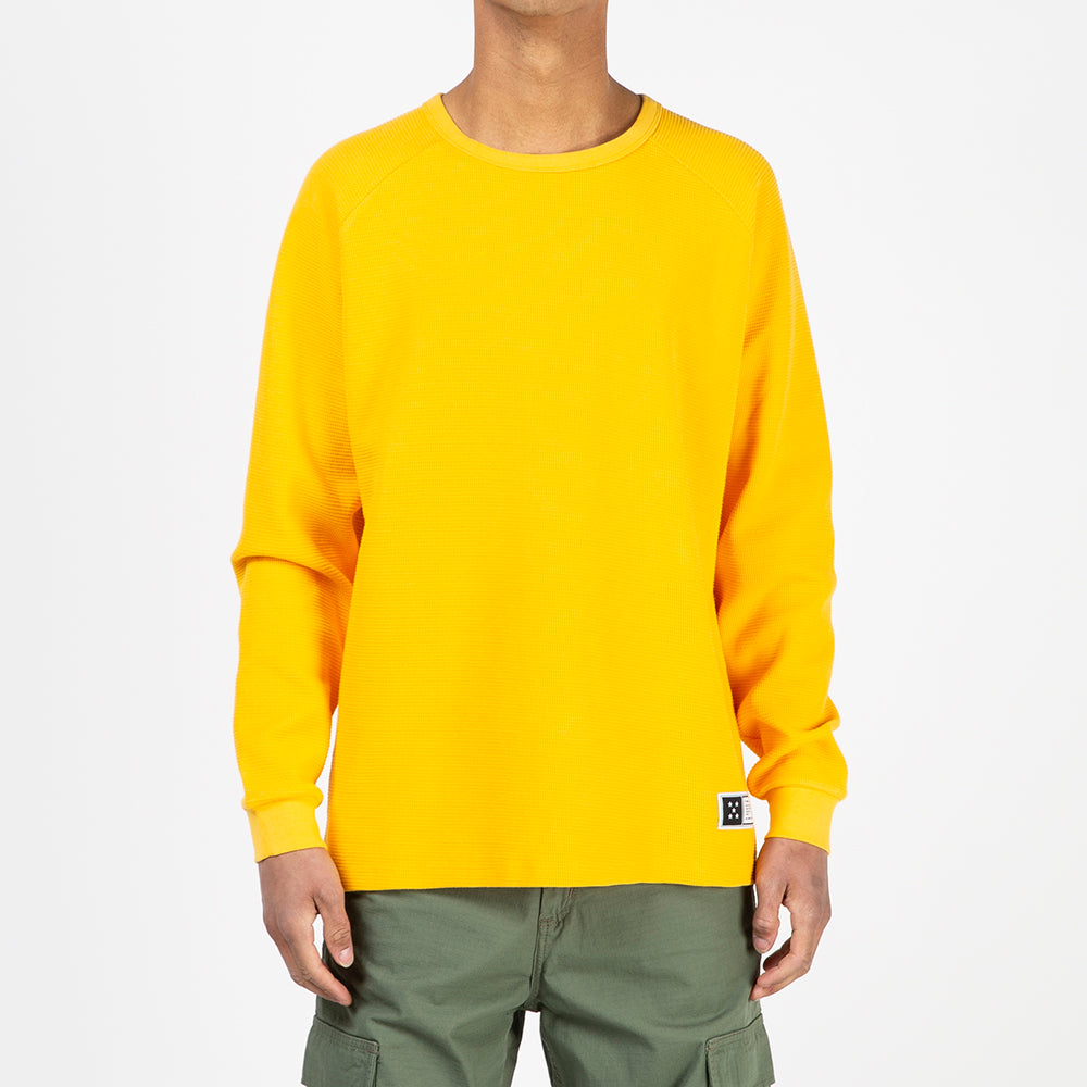 Pop Trading Company Waffle Long Sleeve Top / Burnt Yellow