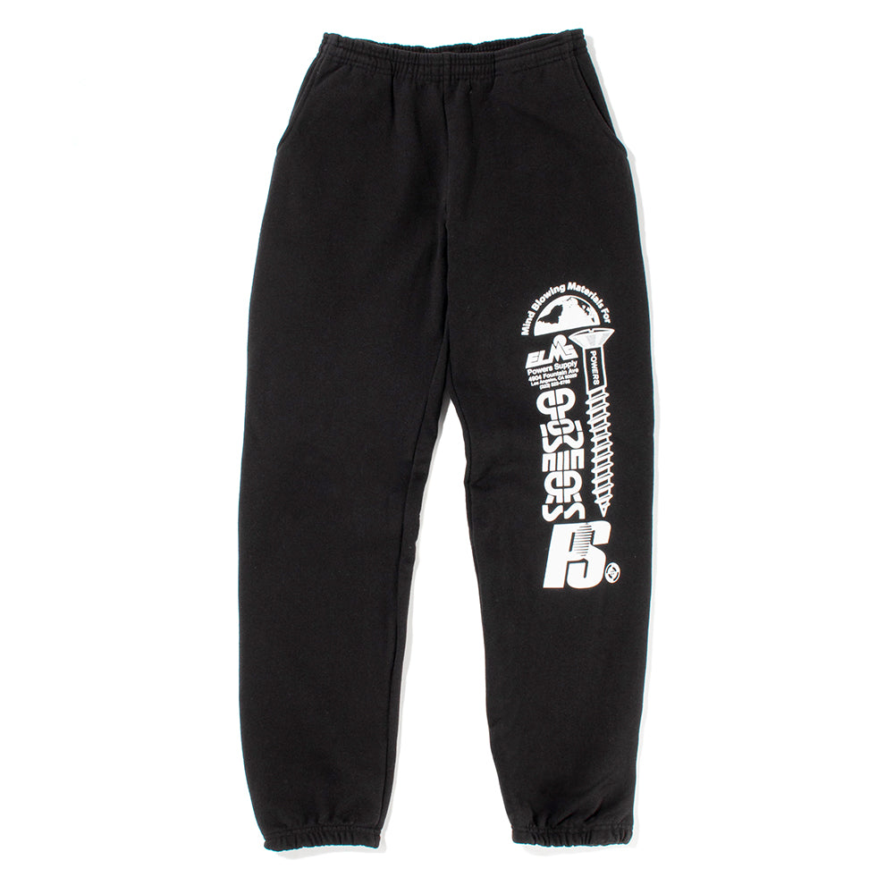 Powers Stacked Logo Sweatpants / Black - Deadstock.ca