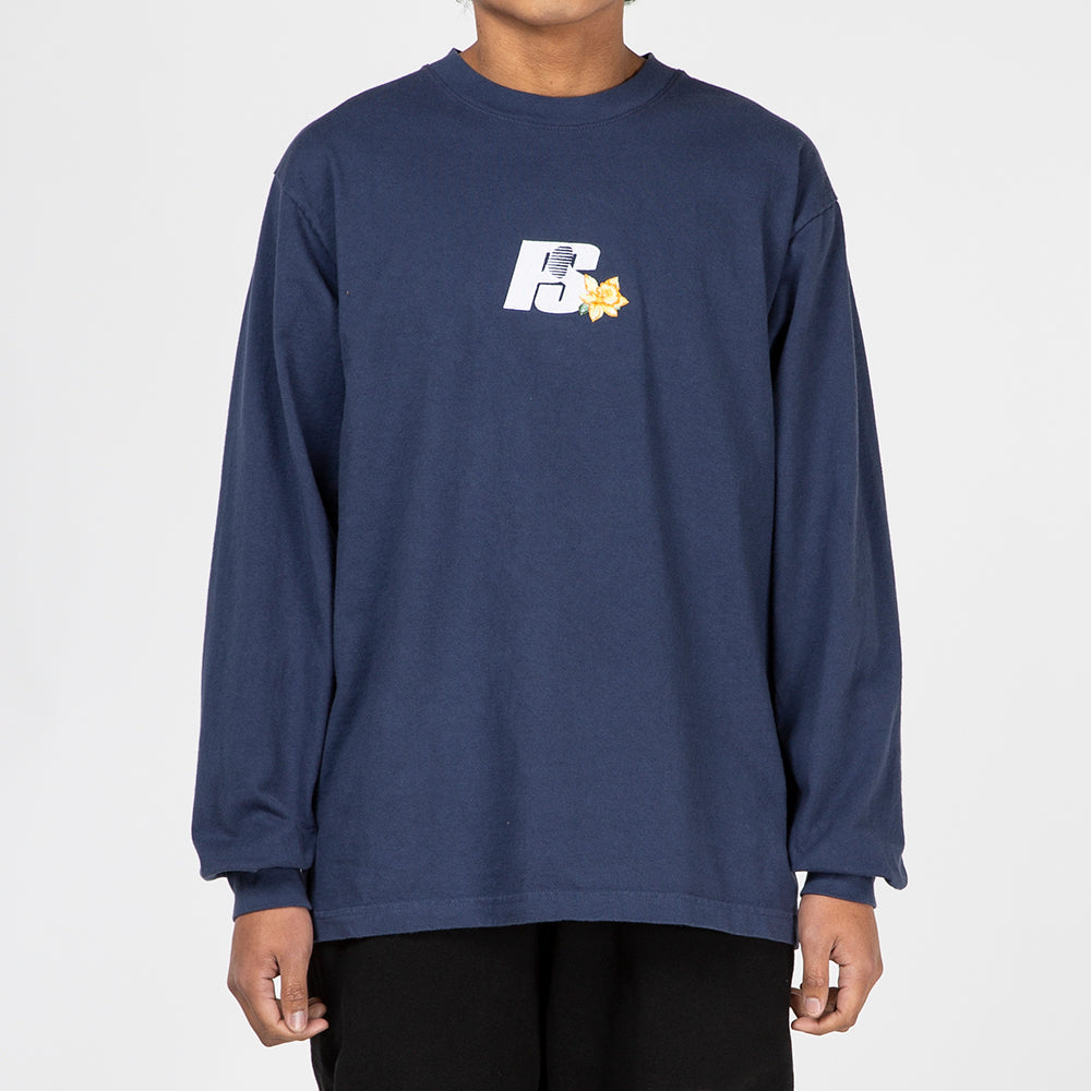 Powers Flower Logo Long Sleeve T-shirt / Navy
