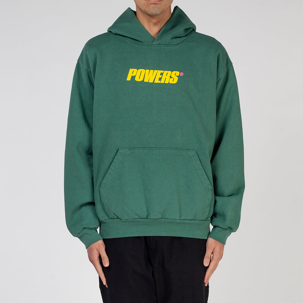 Powers Spellout Pullover Hoodie / Green