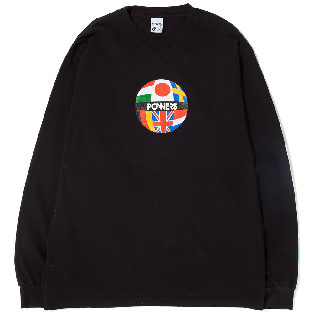 Style code PSSS1818. Powers Global Flag Long Sleeve T-shirt / Black