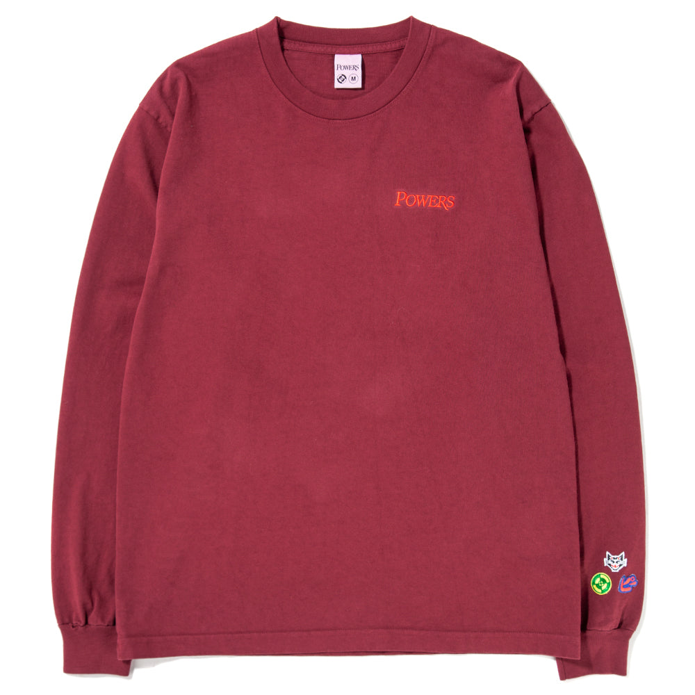 Style code PWRS406. Powers Logotype Long Sleeve T-shirt / Port