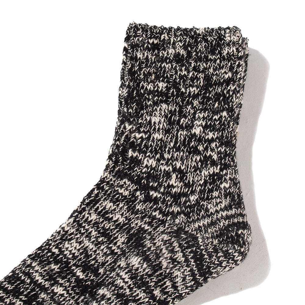 RoToTo Low Gauge Slub Socks / Black - Deadstock.ca