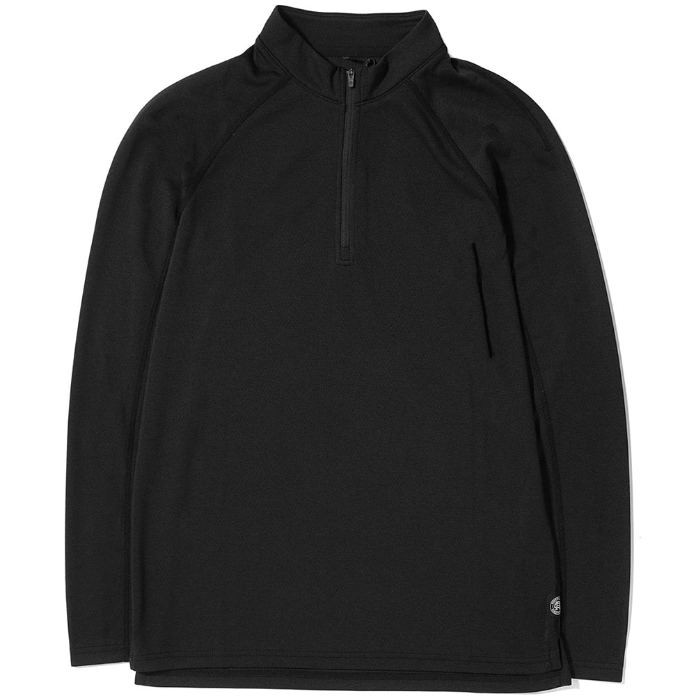 style code RC2120BLFW17.  REIGNING CHAMP HALF ZIP HONEY COMB TRAIL SHIRT / BLACK