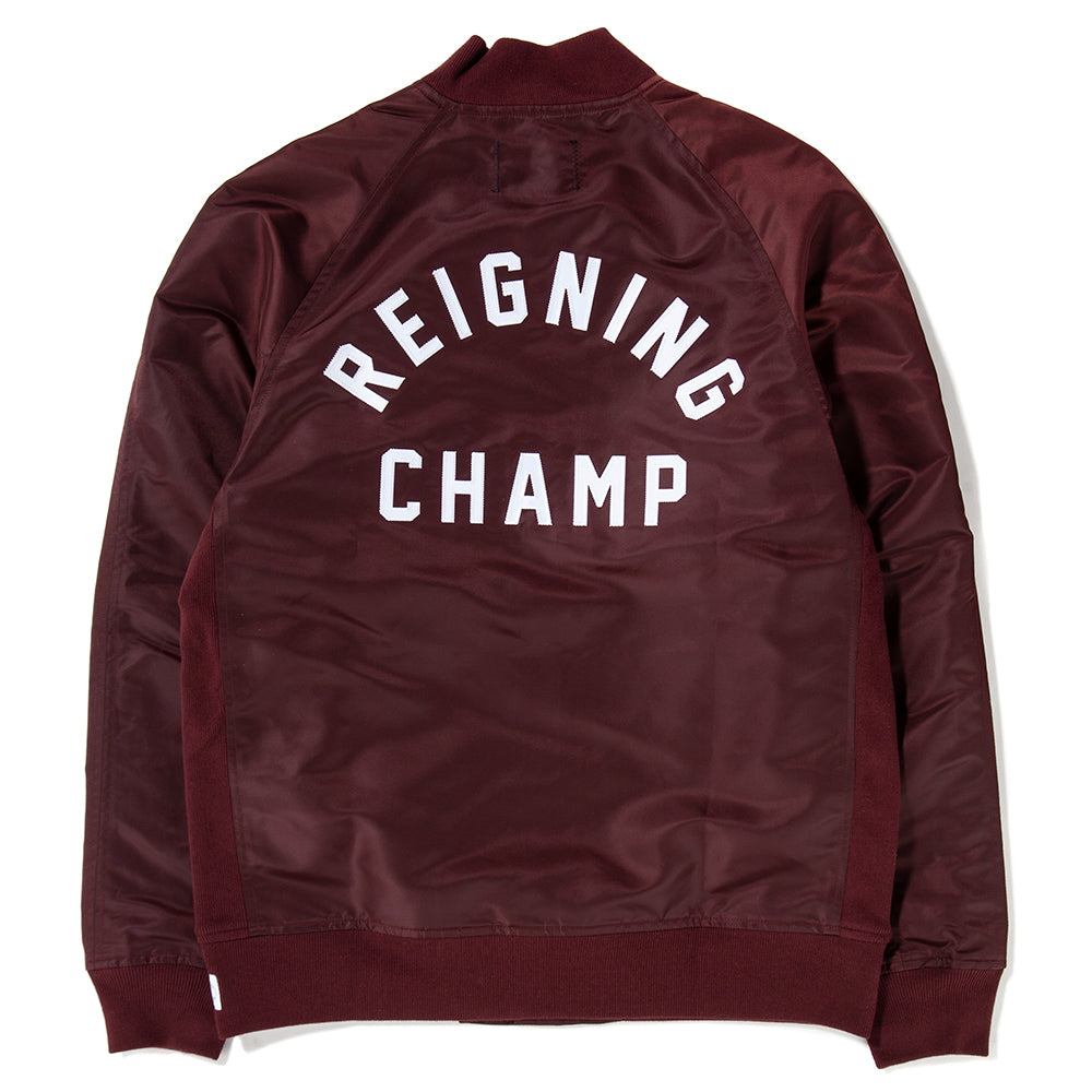 Style code RC4124FW18. Reigning Champ Ivy League Satin Stadium Jacket / Crimson