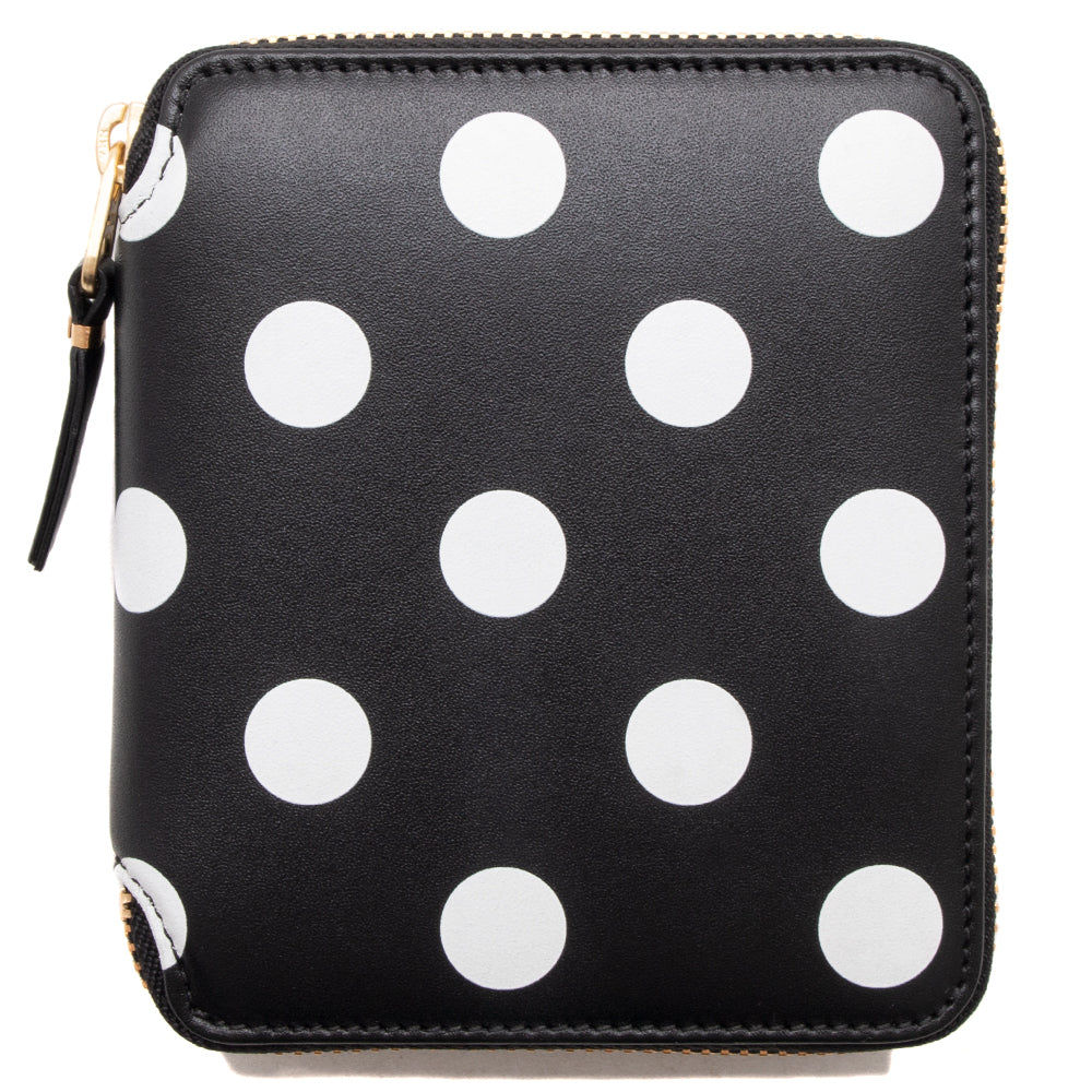 COMME des GARÇONS Full Zip Wallet Dots Printed Leather Line / Black - Deadstock.ca