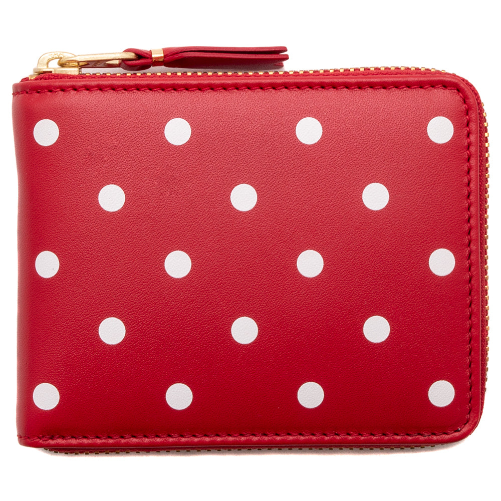 Style code SA7100PD. COMME des GARÇONS Full Zip Wallet Dots Printed Leather Line / Red