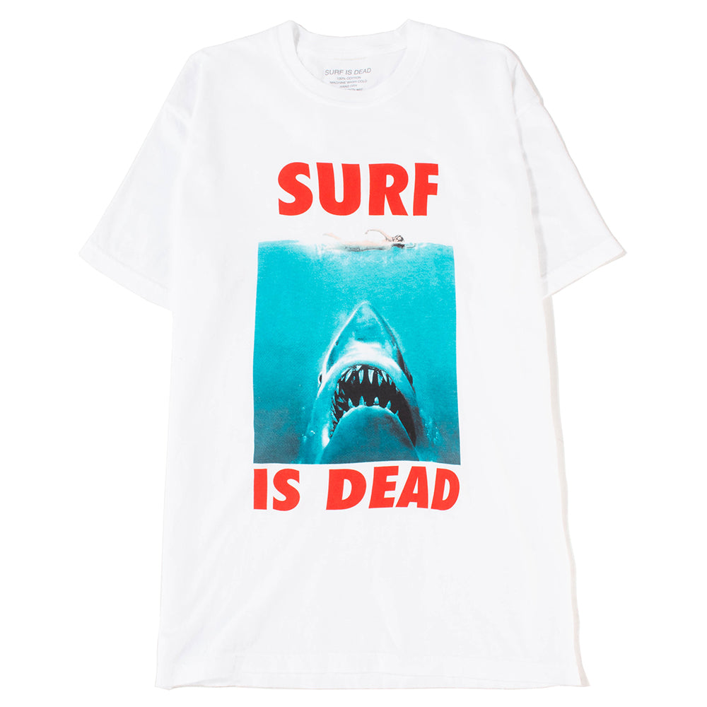 Surf Is Dead Blurred Jaws T-shirt / White - Deadstock.ca