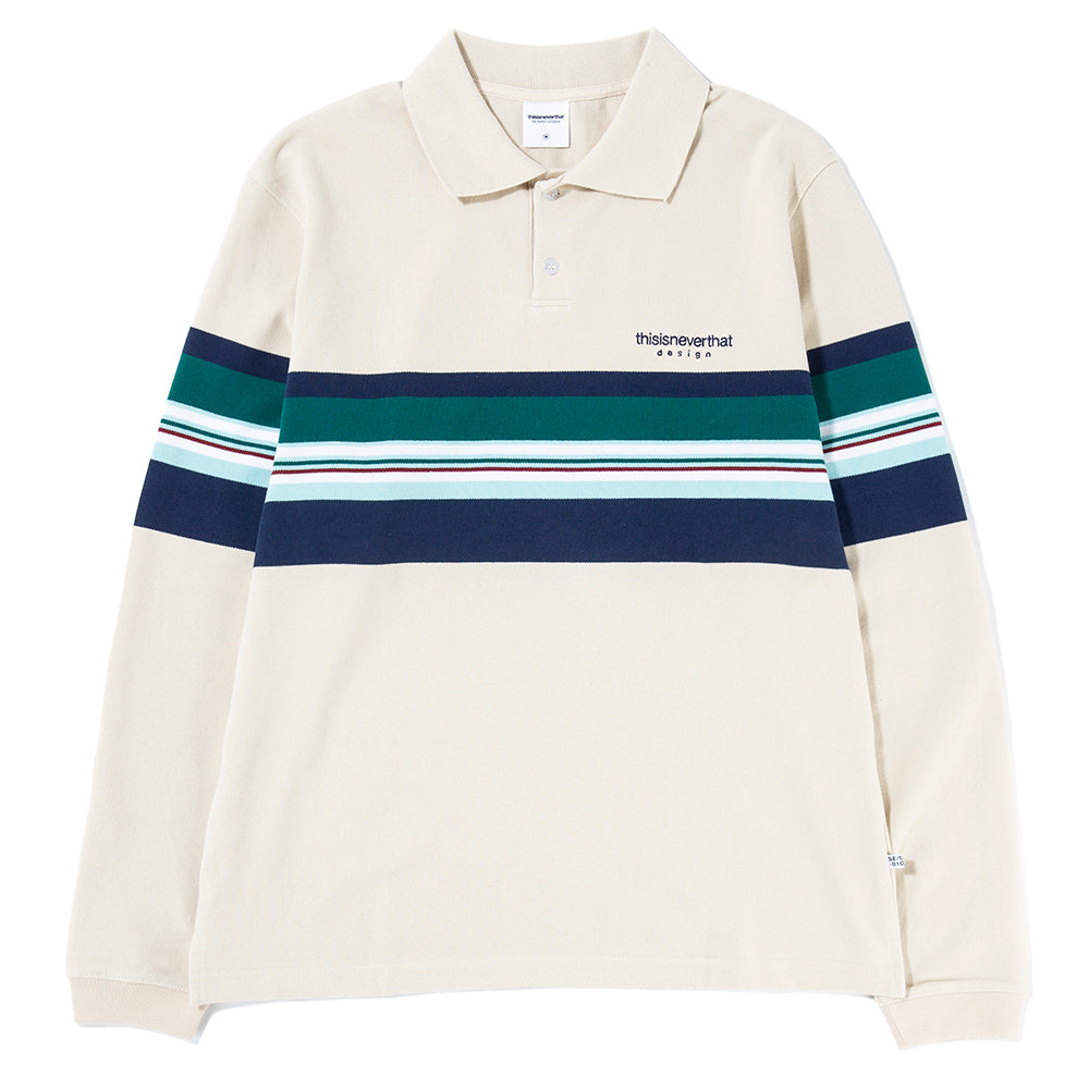 thisisneverthat L Logo Striped Jersey Polo / Beige