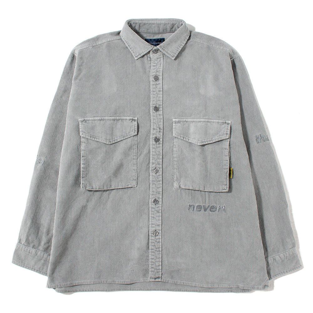 thisisneverthat SP Logo Corduroy Shirt / Grey - Deadstock.ca