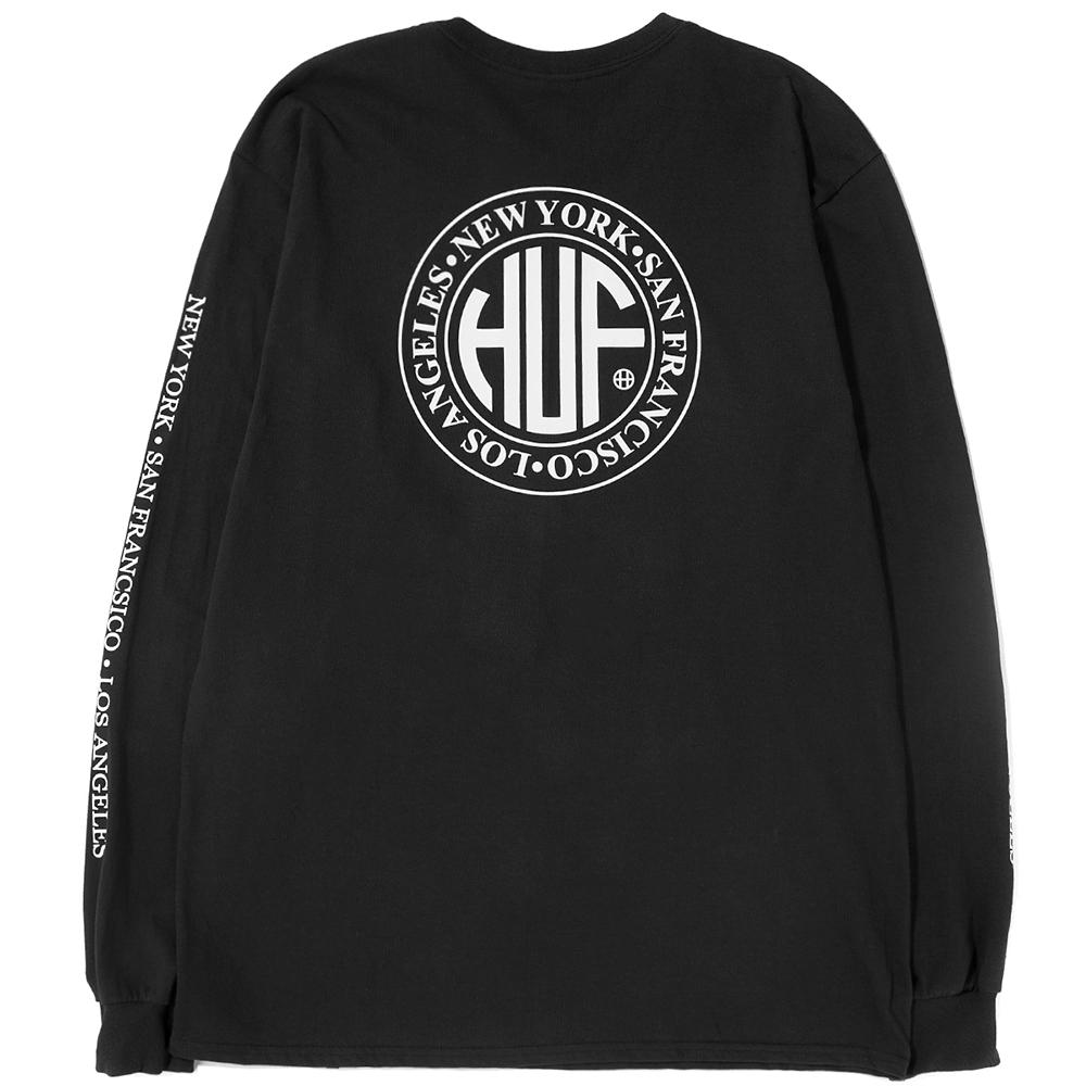 Style code TS00301SP18D1BLK. HUF REGIONAL LONG SLEEVE T-SHIRT / BLACK