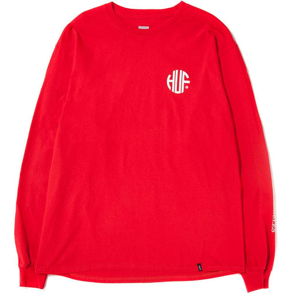 Style code TS00301SP18D1RED. HUF REGIONAL LONG SLEEVE T-SHIRT / RED