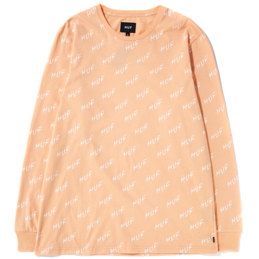 HUF Bolt All Over Long Sleeve T-Shirt / Peach