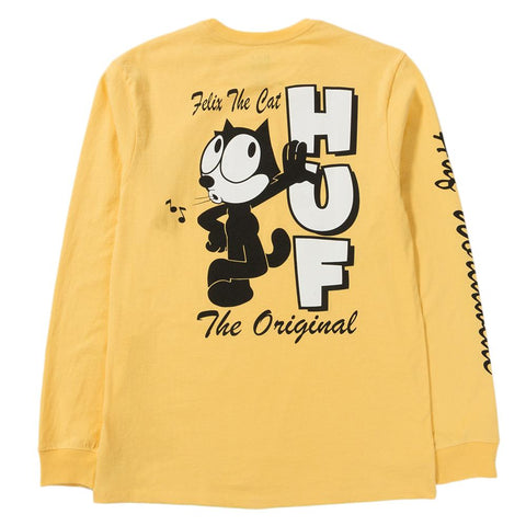 Style code TS00434FELIXBAN. HUF X FELIX THE CAT SANTEE LONG SLEEVE T-SHIRT / BANANA