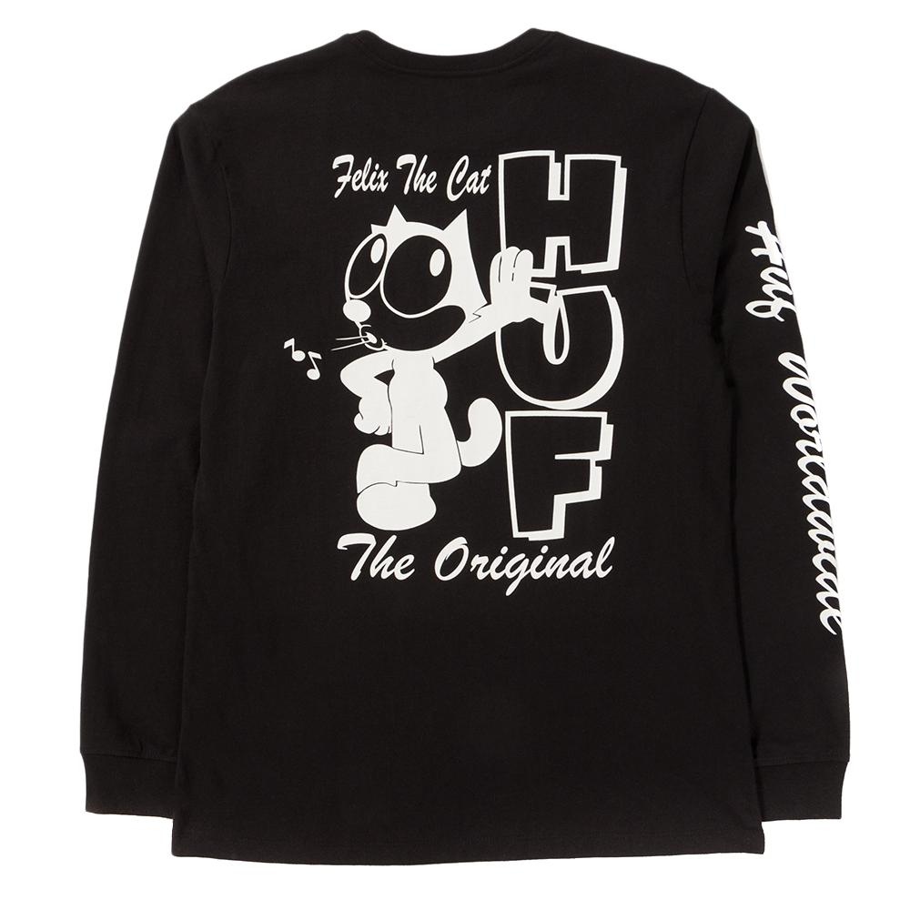 Style code TS00434FELIXBLK. HUF X FELIX THE CAT SANTEE LONG SLEEVE T-SHIRT / BLACK