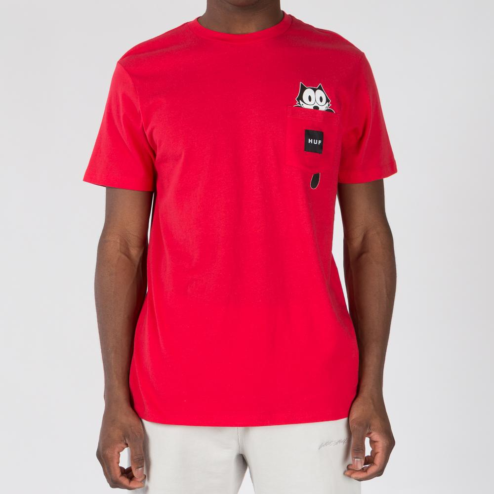 HUF X FELIX THE CAT WATCHING POCKET T-SHIRT / RED