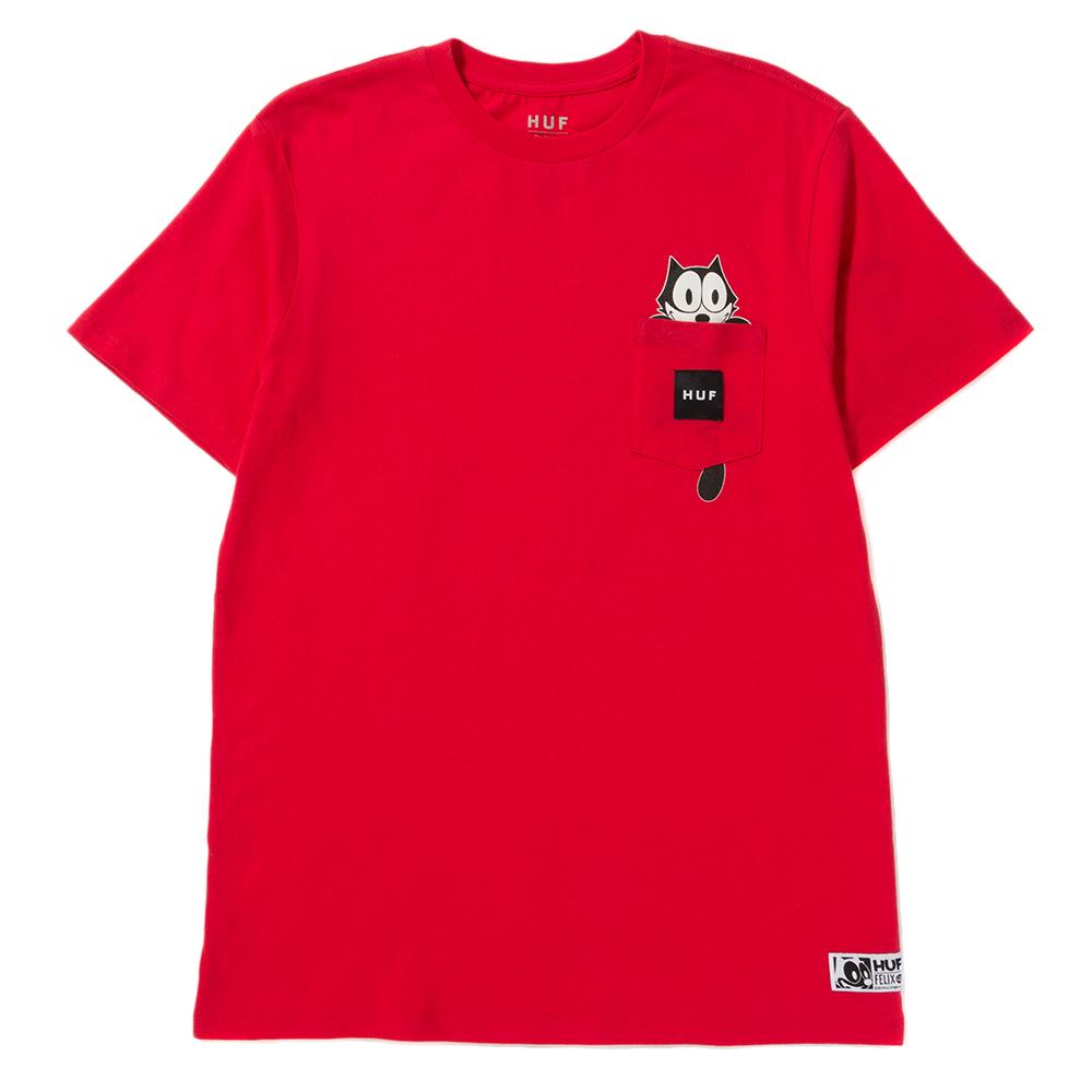 Style code TS00437FELIXRED. HUF X FELIX THE CAT WATCHING POCKET T-SHIRT / RED