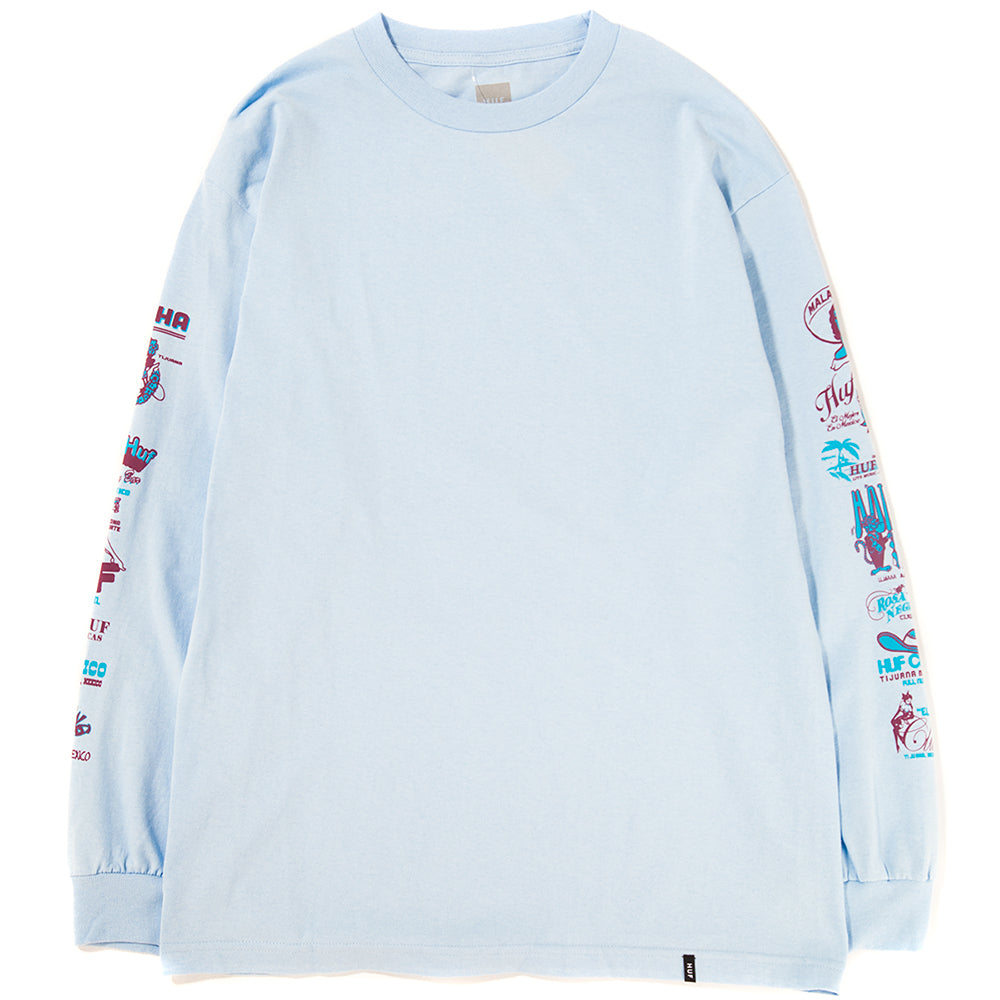Style code TS00503SU18BBL. HUF Collage Long Sleeve T-Shirt / Ballard Blue