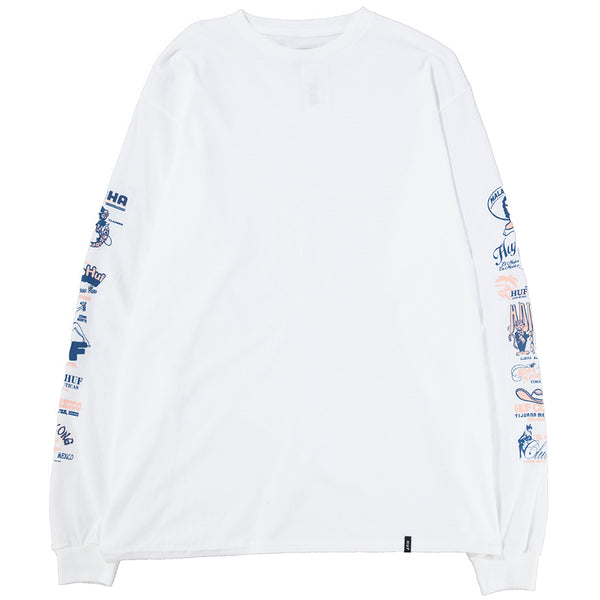 Style code TS00503SU18WHT. HUF Collage Long Sleeve T-Shirt / White