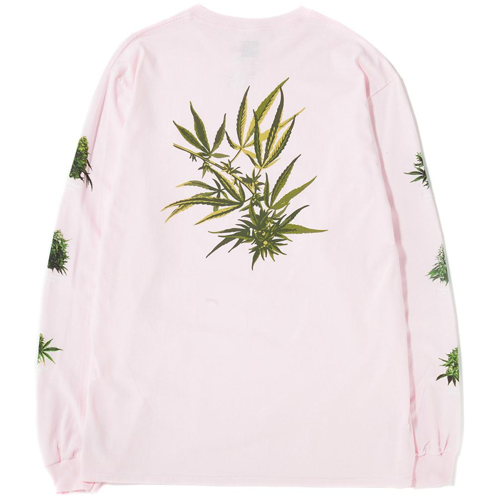 Style code TS00555PNK. Huf Tropical Plant Long Sleeve T-shirt / Pink