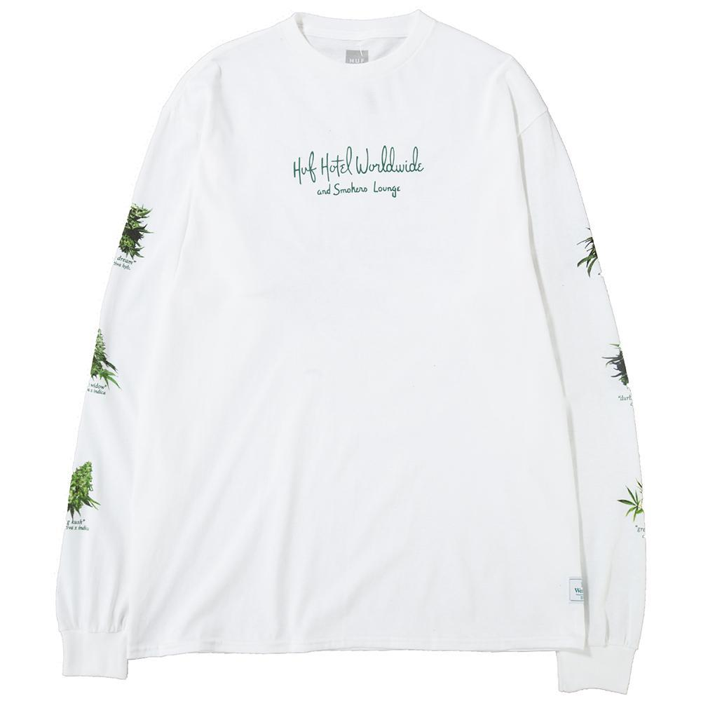 Style code TS00555WHT. Huf Tropical Plant Long Sleeve T-shirt / White