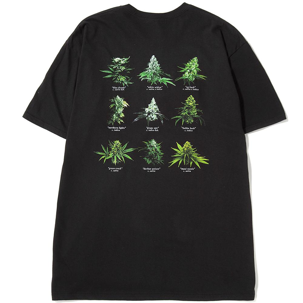 Style code TS00556BLK. Huf Smokers Lounge Strains T-shirt / Black